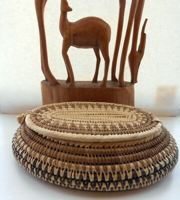 African Hand Woven Basket W/ Lid Coil Weave Natural Basket