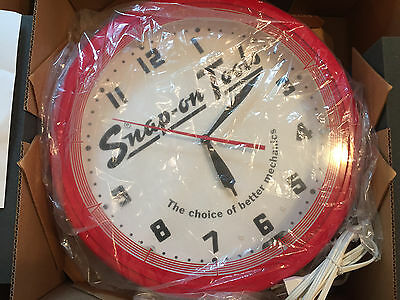 "Snap-on Mechanics 20"" Neon Clock RARE NIB"