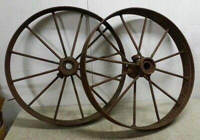 "Pair of Antique 27"" Steel Spoked Horse Drawn Rustic Cast Iron Hub Wagon Wheels"