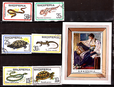 ALBANIA block and stamps : reptiles,block on portrait-table 293T4