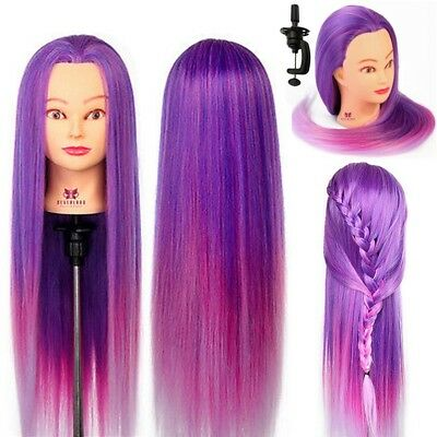 "Training Head Hairdressing cut 28"" Colorful Hair Mannequin Practice Doll + Clamp"