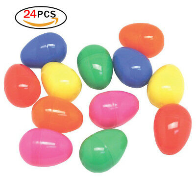 3 Inch PLASTIC EASTER EGGS PACK OF 24 EMPTY EASTER HUNT EGGS ASSORTED COLOURS