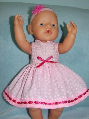 "17"" baby born dolls clothes / DRESS~BLOOMERS~HEADBAND / pink butterflies"