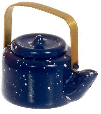 1:12 Scale Blue Spotted Metal Kettle Dolls House Miniature Kitchen Accessory