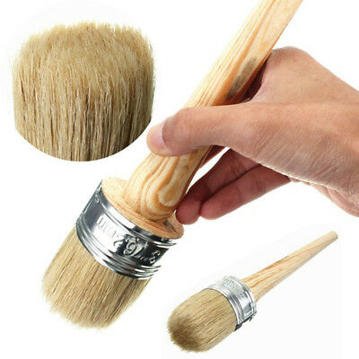 1x Paint Wax Brush for Painting Waxing Furniture Round Wooden Handle