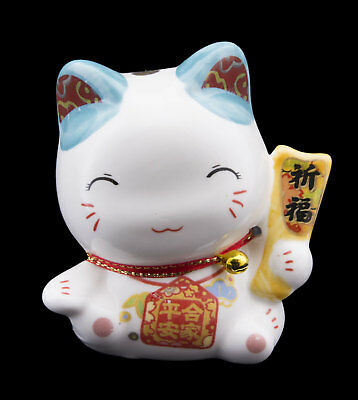Tirelire chat japonais 8cm blanc bleu céramique Made in Japan Maneki Neko 86