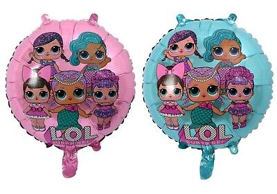 "18"" New Lol Surprise Doll Blue & Pink Surprised Foil Balloon Birthday Girl Party"