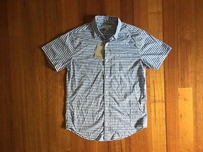 NEW Country Road Barrey Shirt Short Sleeve Blue White Striped Mens Size Small