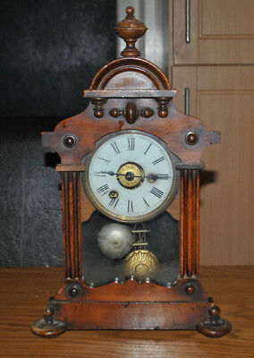 American Antique Clock Alarm Clock Working with key Steeple Knobs