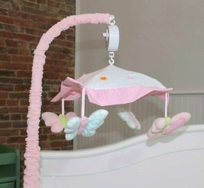 NIB Nurture Generations Butterfly Wings Musical Crib Mobile Pink/Blue/Green