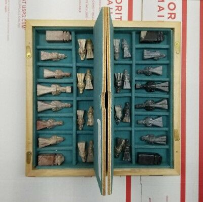 Rare Vintage Hand Carved Asian Chess Game Board Set Made In Korea~Aged Condition