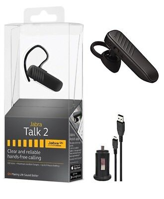 New Jabra Talk 2 Bluetooth Headset HD Voice W/Car Charger For Android and iOS