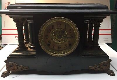 Antique Seth Thomas Adamantine Black Mantel Mantle clock No 102