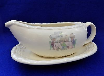 2 Pc Precious Moments LORD'S BLESSING Porcelain Gravy Boat & Saucer Set- RARE!!
