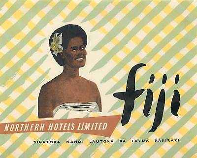 Fiji South Pacific Northern Hotels Limited Vintage Luggage Label
