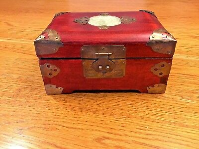 Vintage Chinese Lacquered Rosewood Ornate Jade & Brass Jewelry Box