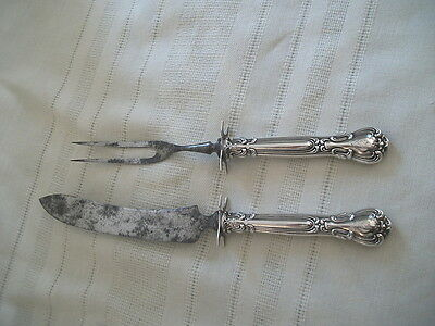 Gorham Chantilly carving set silver plate blades sterling handles 1904-1950