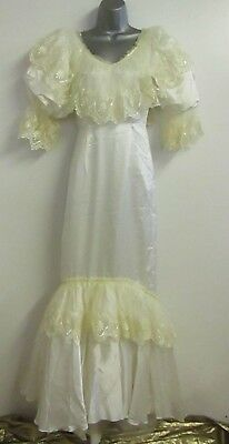 Stevies Gowns Fishtail Wedding Dress Sz 10 Ivory Gold Lace Flounce Sleeve BNWT