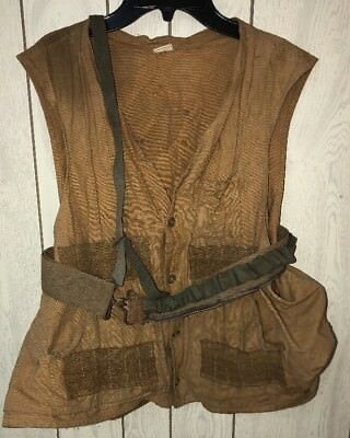 Red Head Brand 1950s Made in USA Tan Canvas Hunting Vest with Ammo Belt vtg
