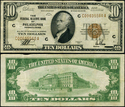 FR. 1860 C $10 1929 Federal Reserve Bank Note Philadelphia VF Nice Color