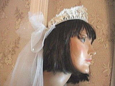 "Vintage1980 Crown-Waxed Orange Blossoms/pearls-2 White Bridal Veils-30"" & 36"" L"