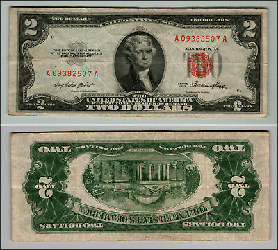 1953 $2 Dollar Bill Old Us Note Legal Tender Paper Money Currency Red Seal P120