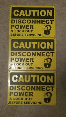 Lot of 3 Caution Disconnect Power And Lock Out Before Servicing Aluminum Sign