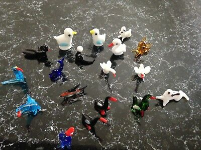 Lot of 18 Vintage Adorable Hand Blown Glass Miniature Animal Figures