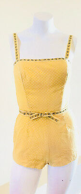 50's Pin up Bombshell Playsuit / Lanz Yellow one piece swimsuit novelty print S