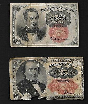 U.S.Civil War Era  Fractional Currency 10 & 25 Cents