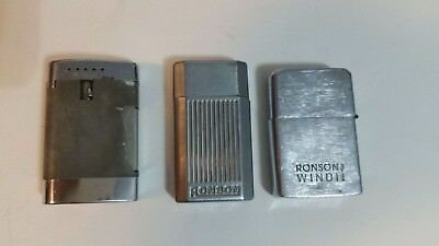 LOT OF 3 VINTAGE Ronson Collectible Lighters - Windii, Jet Lite