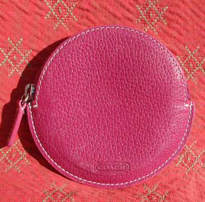 COACH Pink Fuchsia Pebble Leather Zip Round Coin Purse