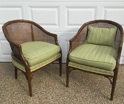 Vtg Mid Century Hollywood Regency Pair Faux Bamboo Cane Barrel Chairs
