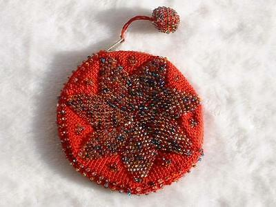 Vintage Beaded Simulated Multi-Colored Star Flower Zipper Closure Coin Purse