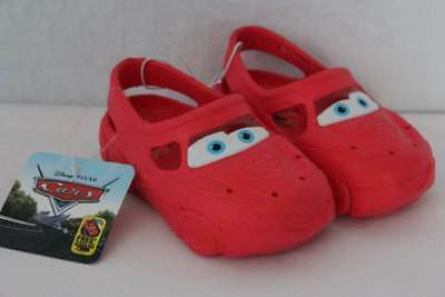 NEW Toddler Boys Disney Cars Water Shoes Small 5 - 6 Red Sandals Clogs Pool