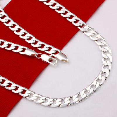 Stunning 925 Sterling Silver Filled 4MM Simple Curb Necklace Chain Wholesale