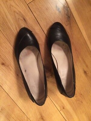 Kay Wide Fit Size 4.5 Ladies Black Leather Court Shoes