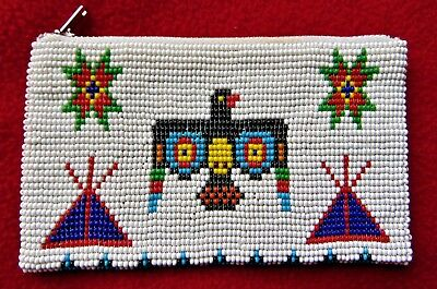 Vintage Native American Cherokee Indian Fully Beaded Purse ~ 1960 Circa