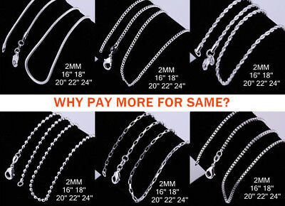 """925 Sterling Silver Filled 2MM Necklace Chains For Pendants 16 - 24"""" Wholesale"""