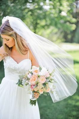 White Ivory Beautiful 1 Layer 90cm Tulle Cut Hem Wedding Bridal Veil With Comb