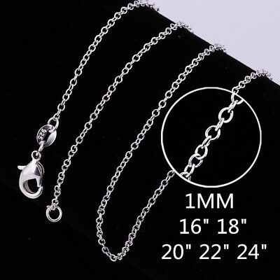 """New 925 Sterling Silver Filled 1MM Rolo Link Necklace Chain 16 - 24"""" Wholesale"""