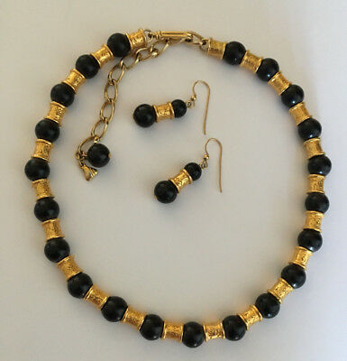 Vintage OLCI Black and Gold Bead Necklace w/ Earrings To Match 14'' Length EUC