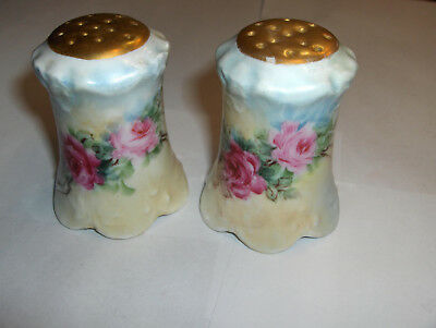 Vintage Hand Painted Pink Roses Salt & Pepper Shakers Bavaria Pensee Gold Tops