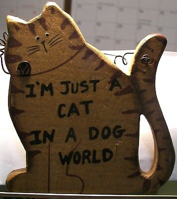 Brown Tabby Cat Wall Hanging Plaque with saying