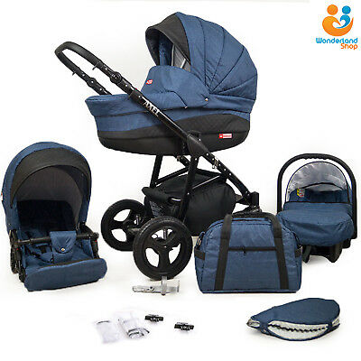 Baby Pram 3in1 Car Seat Carrycot Travel System Pushchair Stroller Buggy Newborn