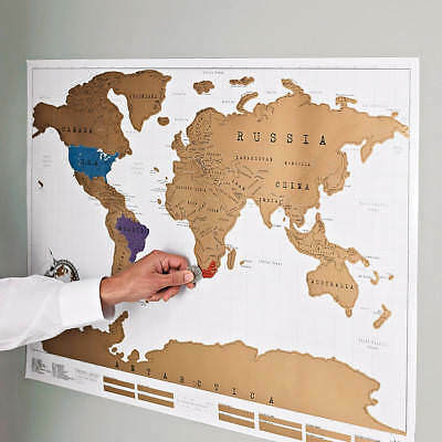 Large Scratch Off World Map Poster Personalized Travel Vacation Log Gift UK