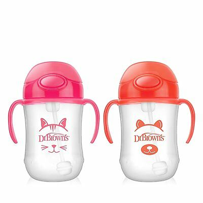 Dr. Browns Babys First Straw Cup, Cute Critters Pink/Orange, 9 ounce, 2 Count