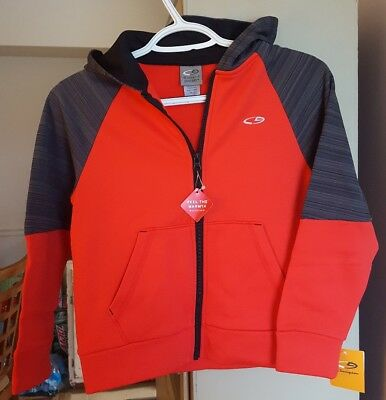 New Champion Boys Duo Dry Zip-Up Hoodie Red/Gray Size S6/7