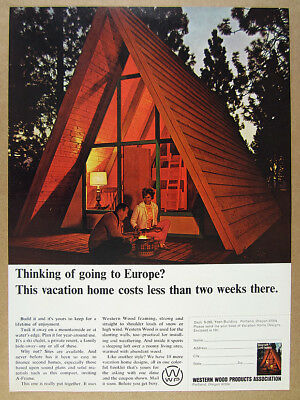 1965 A-Frame Cabin Vacation Home photo Western Wood Products vintage print Ad
