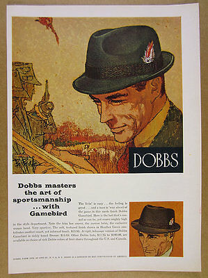 1960 Bob Peak illustration art Dobbs Gamebird Men's Hat vintage print Ad
